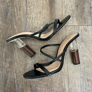 Zara Black Strappy Clear and Wood Mix Heels